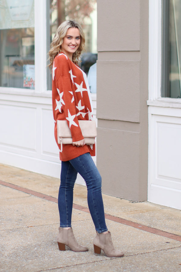 North Star Printed Cardigan - Rust - Madison and Mallory