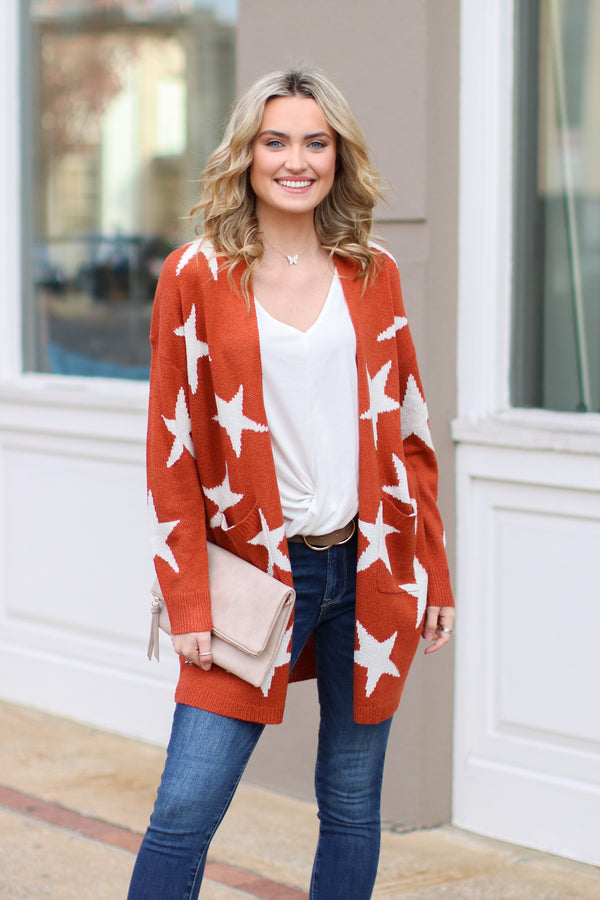 Rust / S North Star Printed Cardigan - Rust - Madison and Mallory