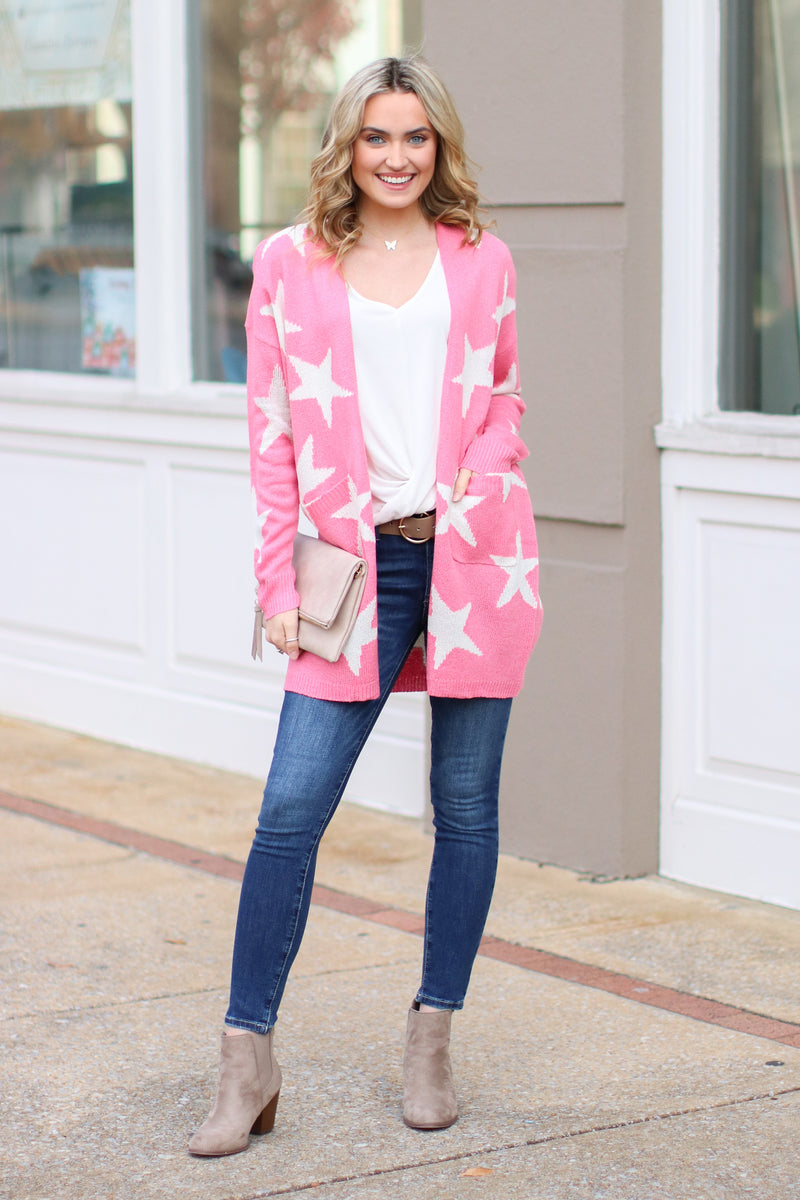 North Star Printed Cardigan - Pink - Madison + Mallory