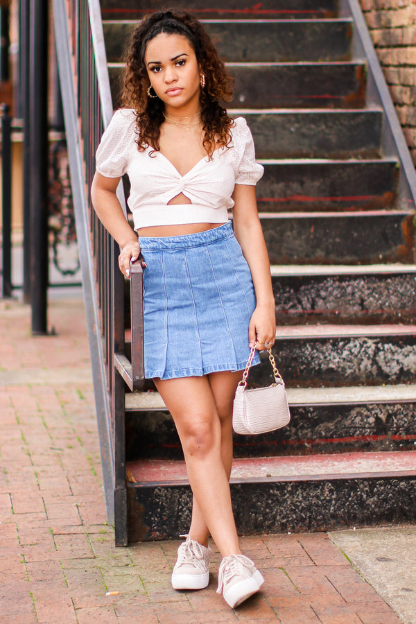 Aranza Pleated Denim Skirt