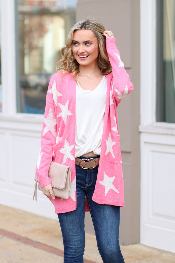 Pink / S North Star Printed Cardigan - Pink - Madison + Mallory