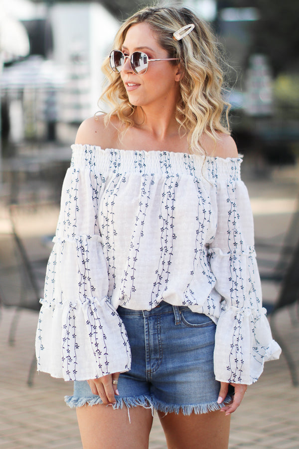 S / White Isabeau Off Shoulder Floral Embroidered Top | CURVE - Madison + Mallory