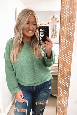 S / Green Destination Unknown Relaxed Knit Top - Madison and Mallory