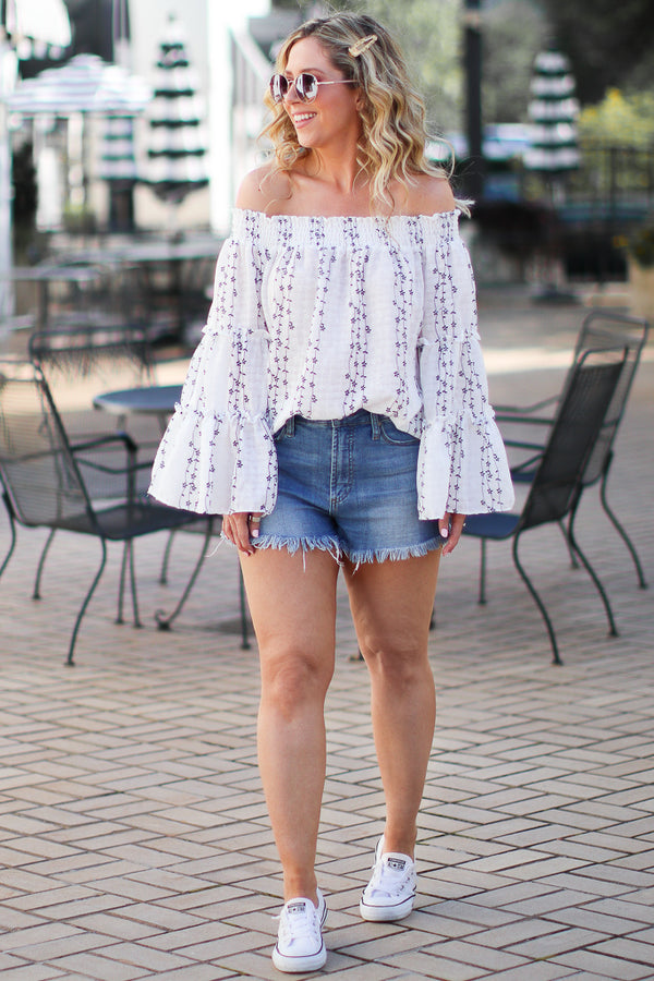 Isabeau Off Shoulder Floral Embroidered Top | CURVE - Madison + Mallory