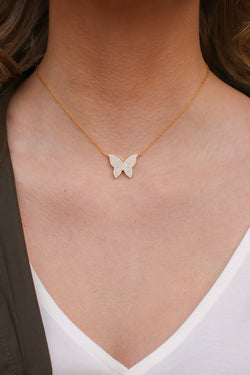 Gold Spread Your Wings CZ Butterfly Necklace - Madison and Mallory