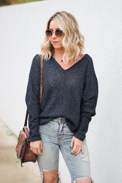 S / Navy Deanna Button Detail Sweater - Madison + Mallory