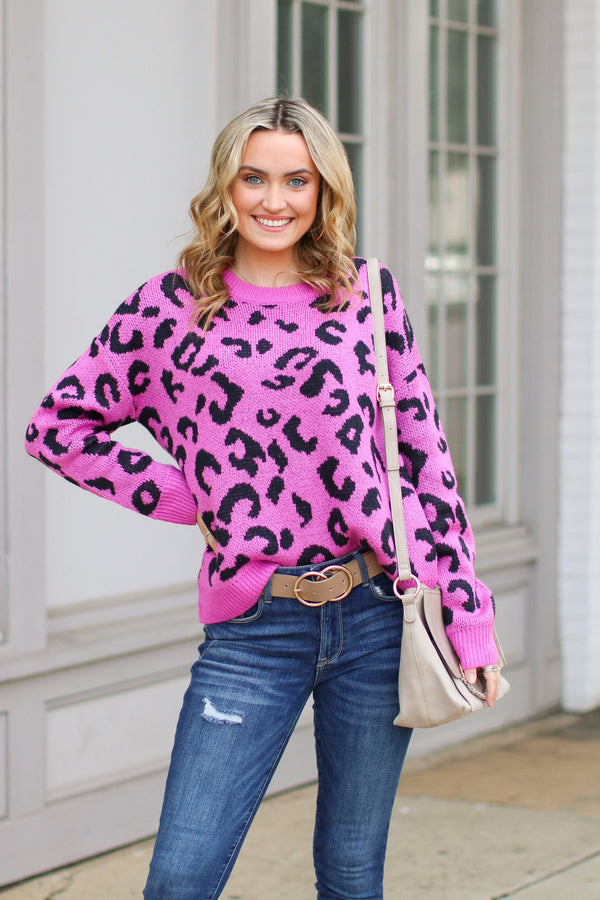 S / Fuchsia Let Me Check Leopard Sweater - Fuchsia - Madison + Mallory