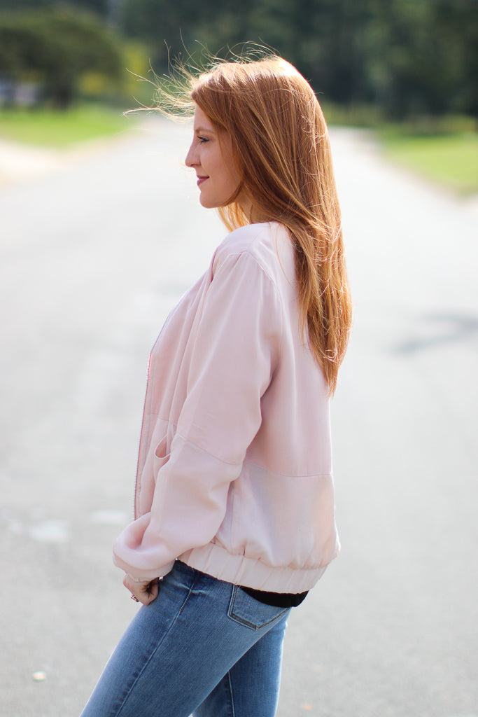 Satin Blush Bomber Jacket - Madison + Mallory