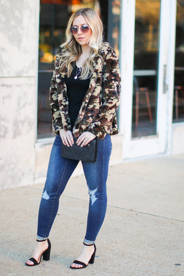 S / Camo Can't Hide It Faux Fur Camo Jacket - Madison + Mallory