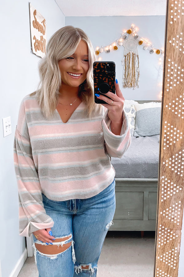 Cassie V-Neck Striped Top - Madison and Mallory