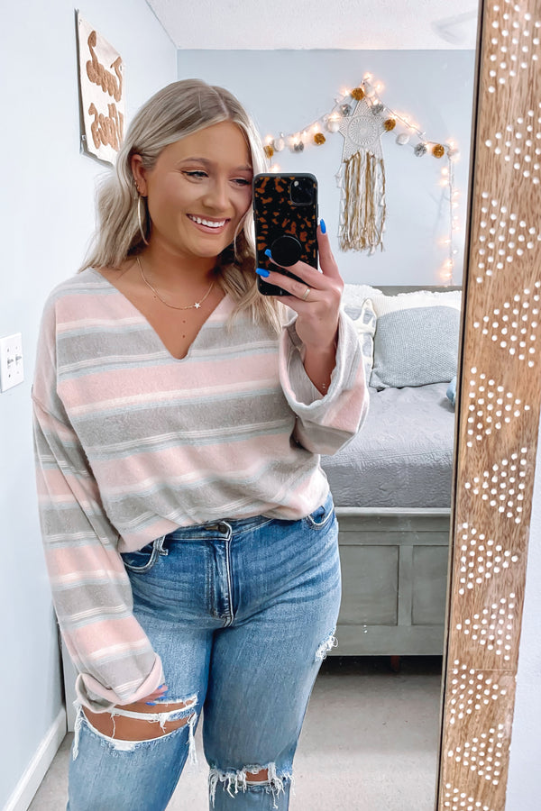 S / Pink Cassie V-Neck Striped Top - Madison and Mallory