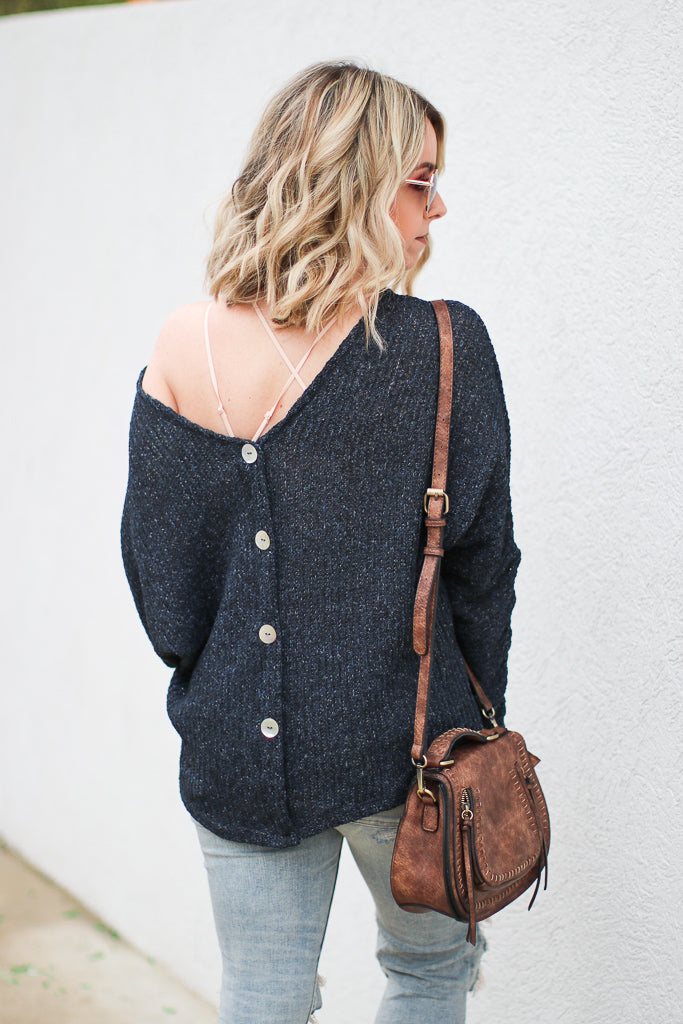 Deanna Button Detail Sweater - Madison + Mallory