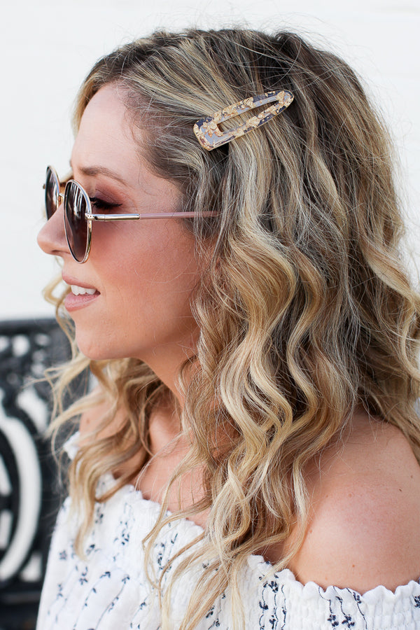 Gold Feel the Spark Acrylic Hair Clips + MORE COLORS - Madison + Mallory