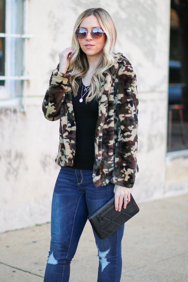 Can't Hide It Faux Fur Camo Jacket - Madison + Mallory