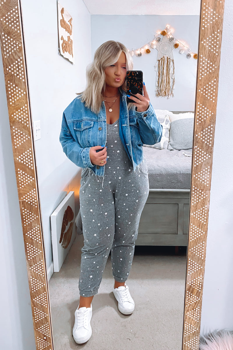 S / Charcoal Chart Topper Star Print Jumpsuit - Madison and Mallory