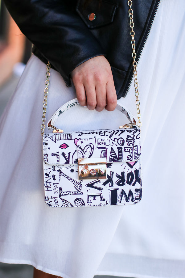 White Style Guide Graffiti Crossbody Bag - Madison and Mallory