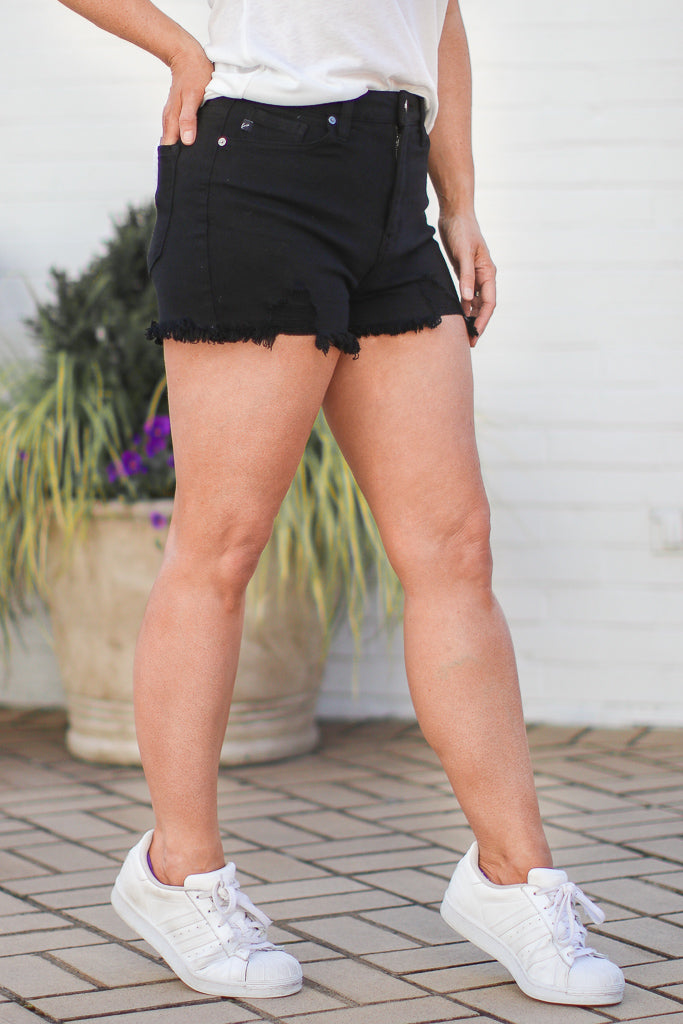 Raeley Distressed High Rise Shorts - Madison + Mallory