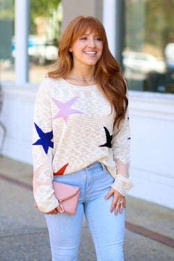 S / Beige Manifest Star Knit Sweater - Madison + Mallory