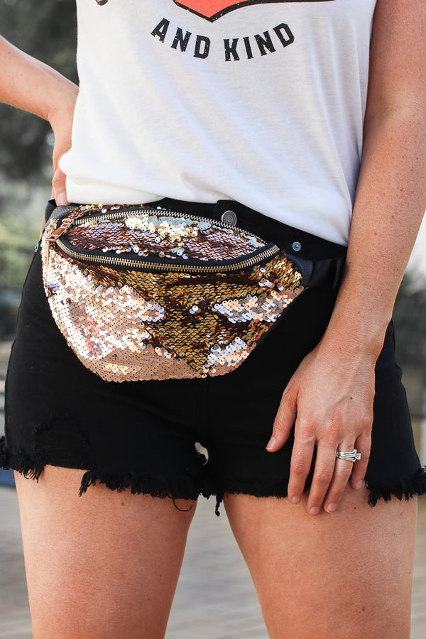Gold All that Glitters Sequin Fanny Pack - FINAL SALE - Madison + Mallory