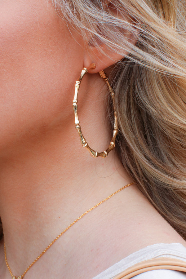 Gold Maldives Bamboo Hoop Earrings - Madison + Mallory