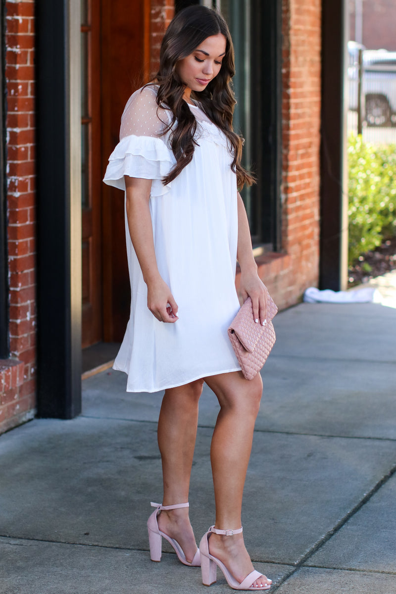 Blissful Moment Lace Yoke Tiered Dress - Madison and Mallory