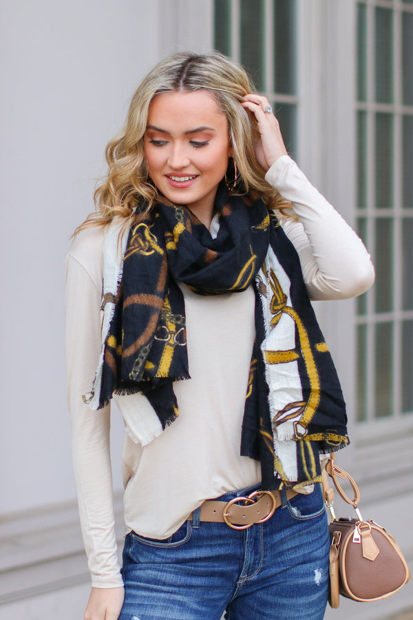 Black Chain of Events Printed Scarf - Madison and Mallory