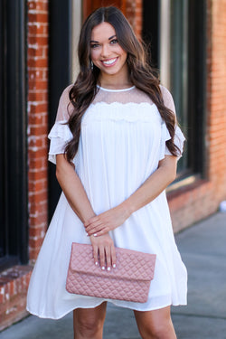 S / White Blissful Moment Lace Yoke Tiered Dress - Madison and Mallory