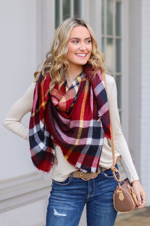 OS / Red *DOORBUSTER* Fab First Plaid Scarf - Red - Madison + Mallory