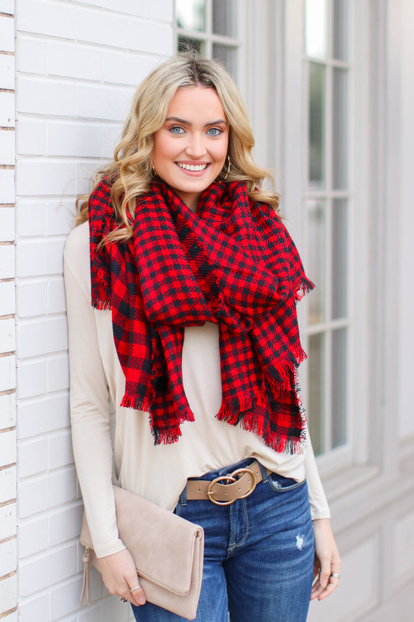 Red *DOORBUSTER* Plaid Publicity Reversible Scarf - Red - Madison + Mallory
