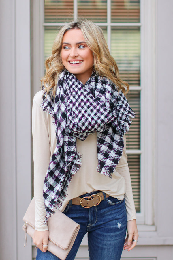 White *DOORBUSTER* Plaid Publicity Reversible Scarf - White - Madison + Mallory