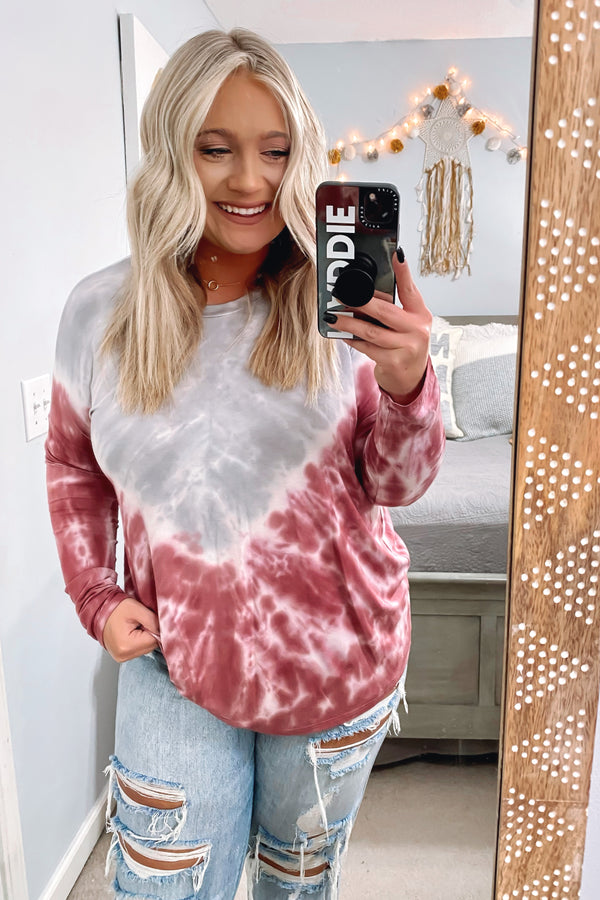 Brick / S Medford Bleach Dye Long Sleeve Top - Madison and Mallory