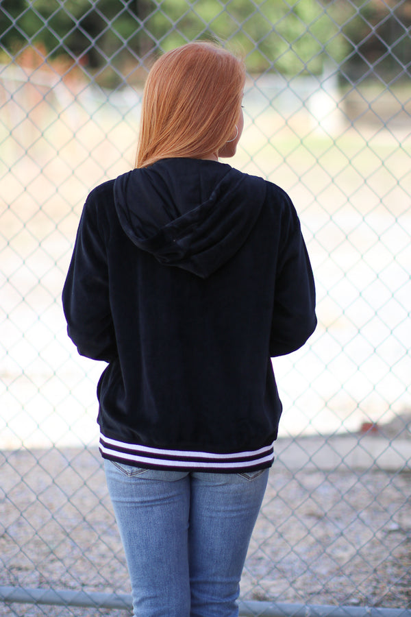 Striped Velour Hoodie Jacket - Madison + Mallory