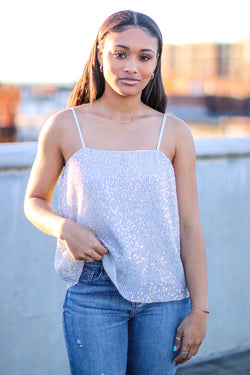 S / Silver Dancing Diva Sequin Detail Tank - Madison and Mallory
