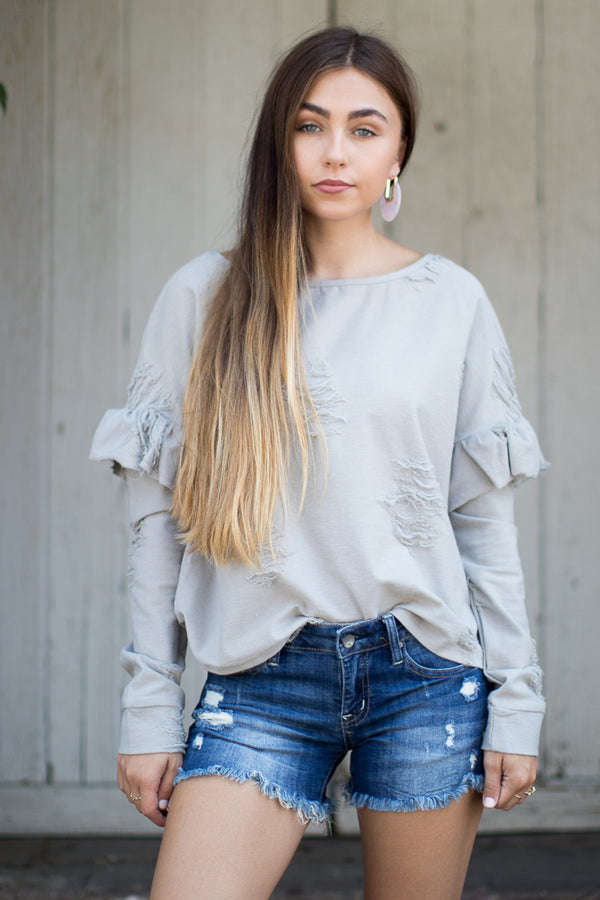 M / Dark Denim Raven Distressed Shorts - Madison + Mallory