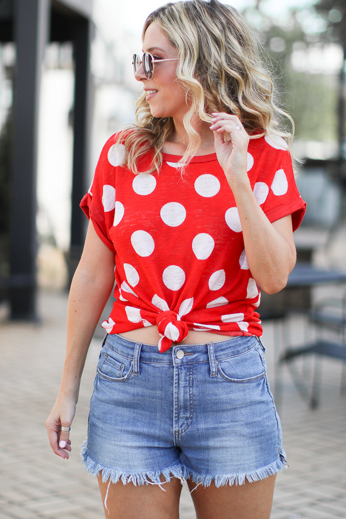 S / Red Polka Dot Pop Top - FINAL SALE - Madison and Mallory