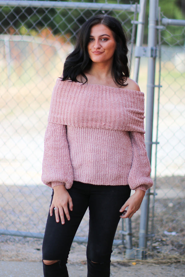 S / Pink Ashton Off Shoulder Chenille Sweater - Madison + Mallory