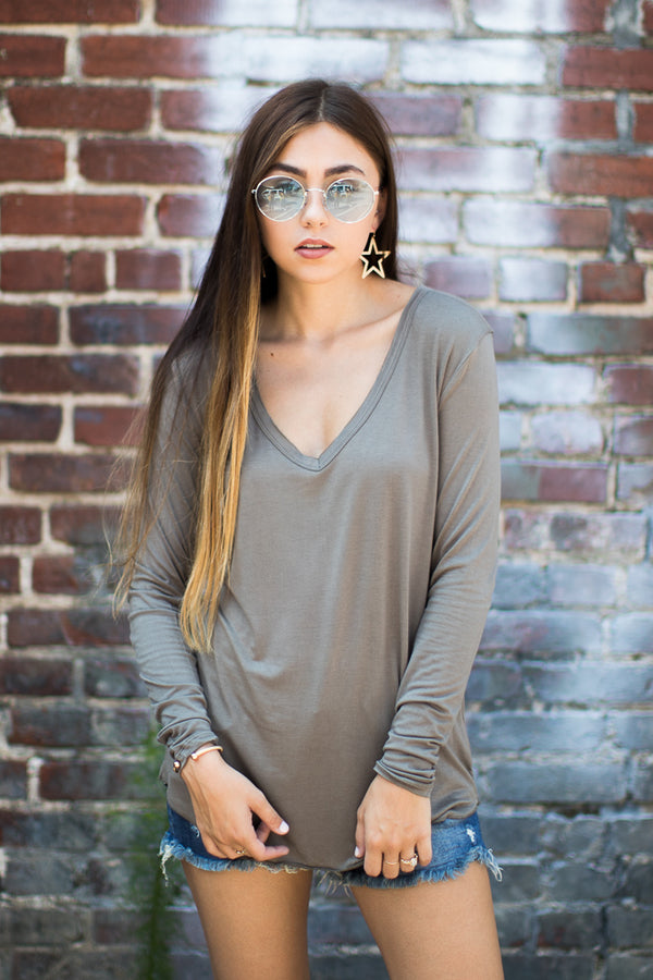 Olive / M Dakota Long Sleeve Top + MORE COLORS - Madison and Mallory
