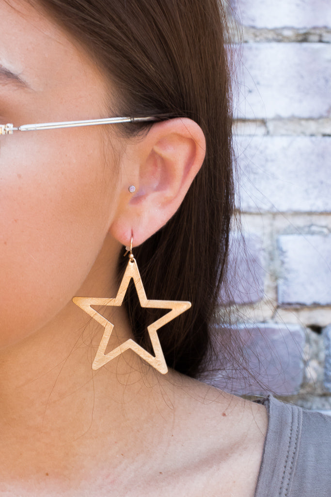 OS / Gold Shining Star Earrings - Madison + Mallory