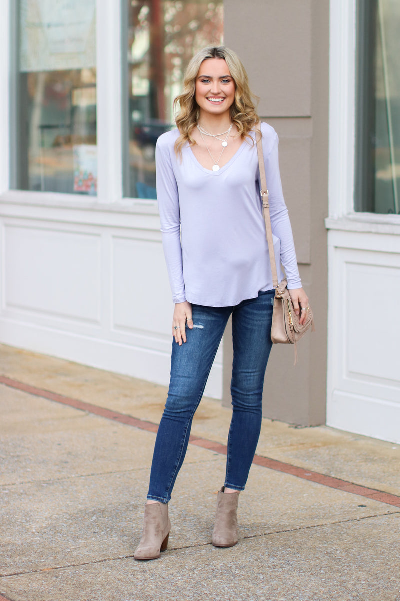 Lavender / S Dakota Long Sleeve Top + MORE COLORS - Madison and Mallory
