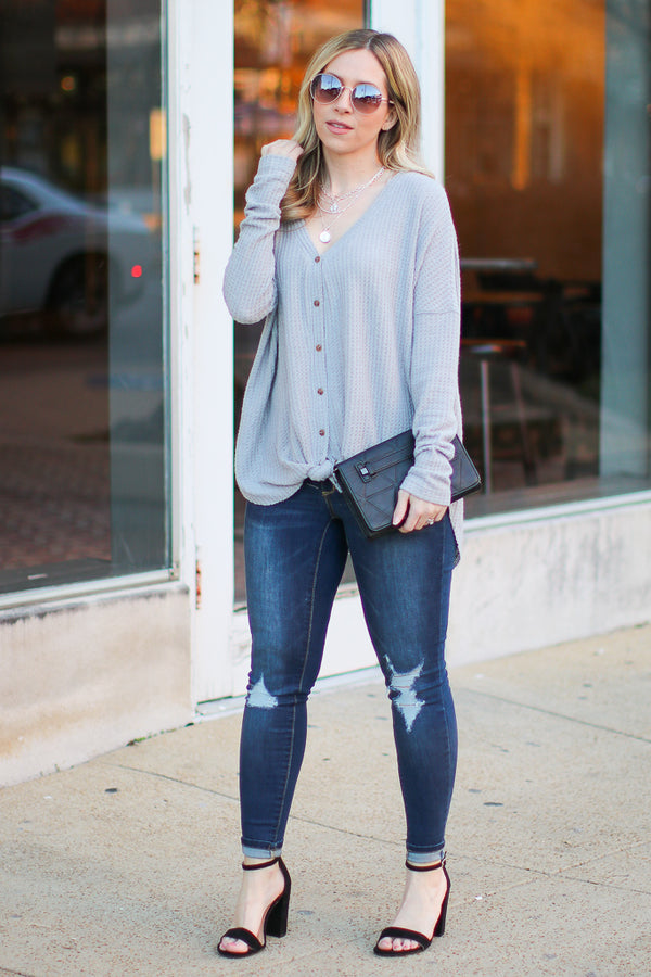 Wynn Thermal Button Down Top - Gray - Madison + Mallory