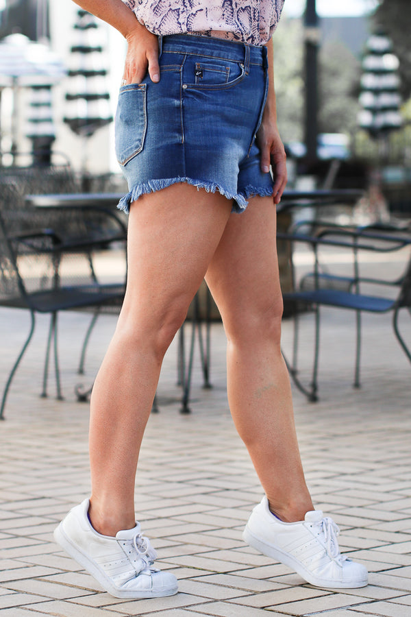 Farrell Frayed Hem Shorts - Madison + Mallory