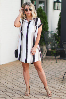 M / Black In Your Own World Striped Collared Dress - Madison + Mallory