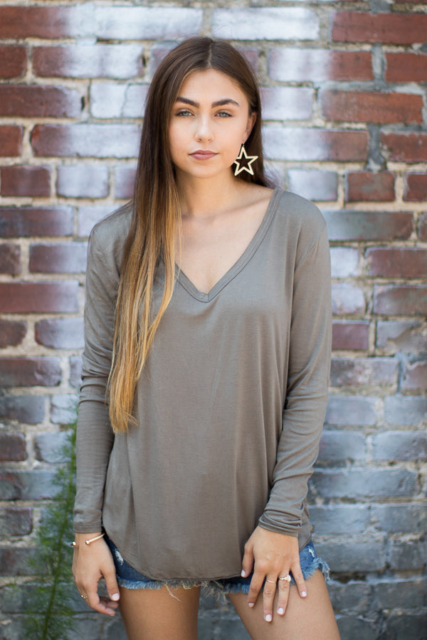 Olive / S Dakota Long Sleeve Top + MORE COLORS - Madison and Mallory