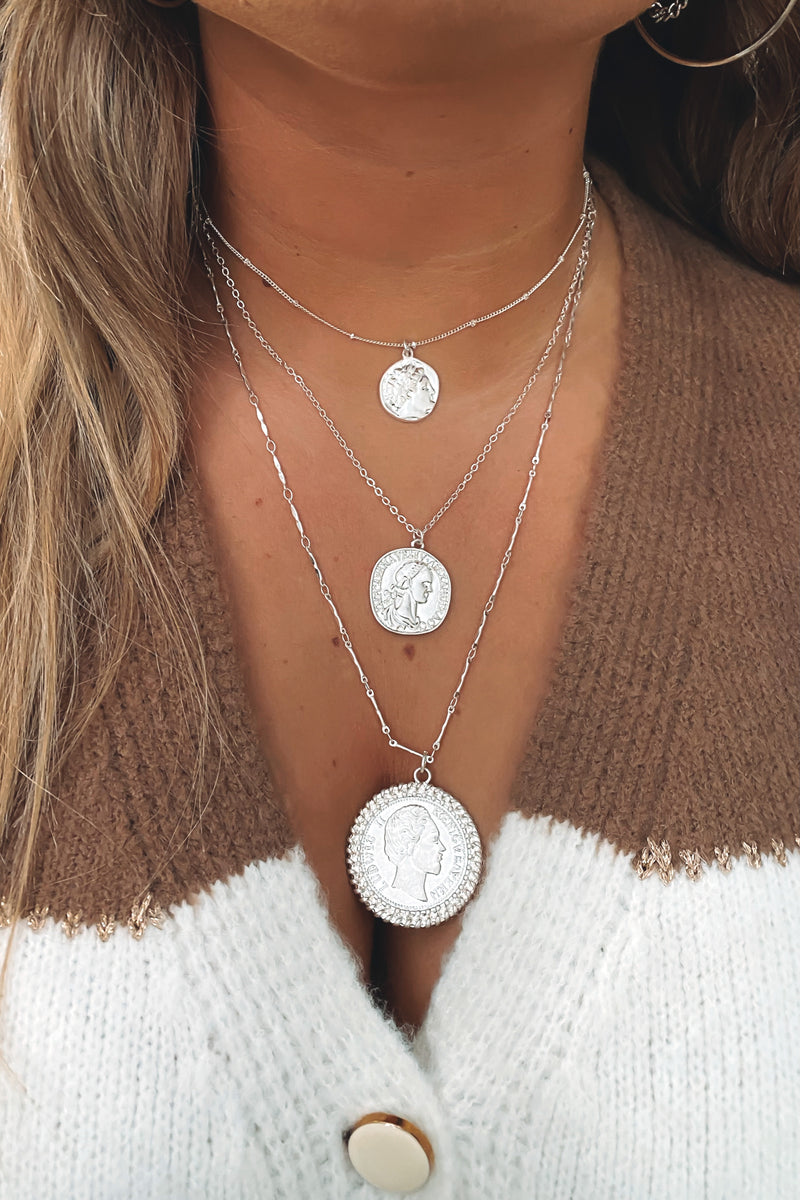 Silver Sealed Secrets Coin Layered Necklace - Madison and Mallory