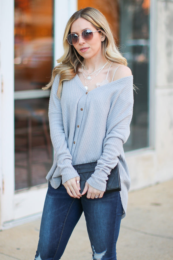 Gray / SM Wynn Thermal Button Down Top - Gray - Madison + Mallory