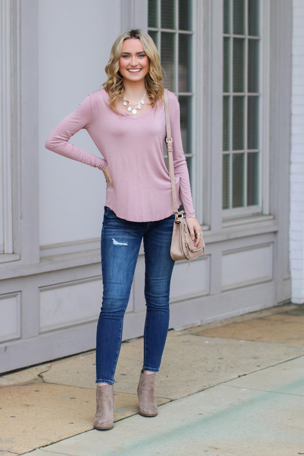 Dusty Pink / S Dakota Long Sleeve Top + MORE COLORS - Madison and Mallory