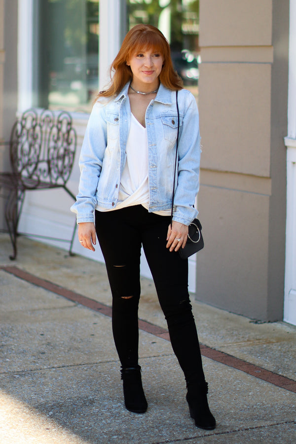 Classic Style Distressed Denim Jacket - Madison + Mallory