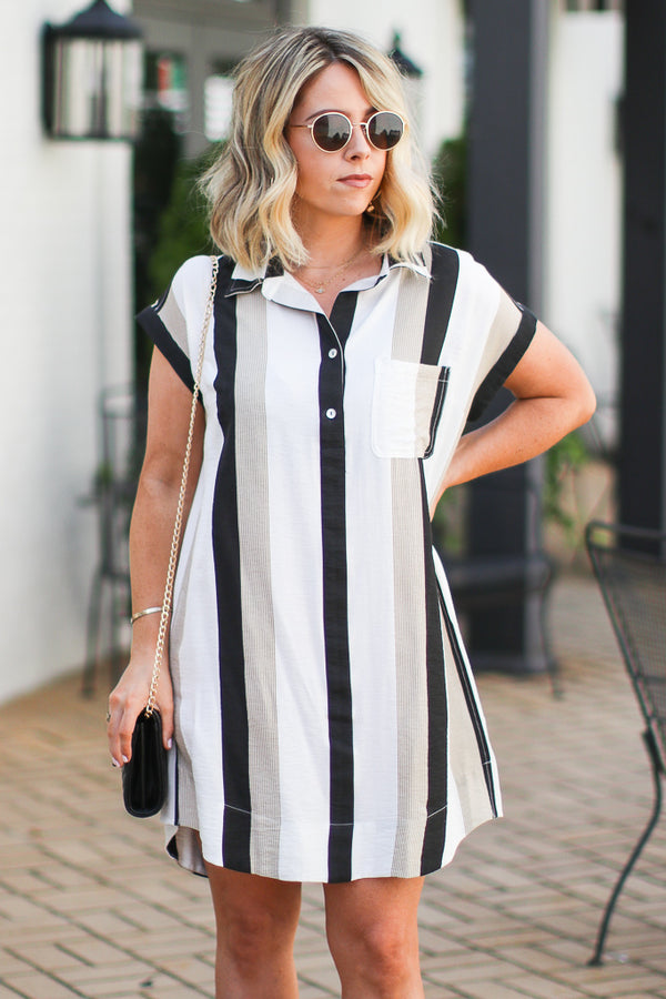 In Your Own World Striped Collared Dress - Madison and Mallory