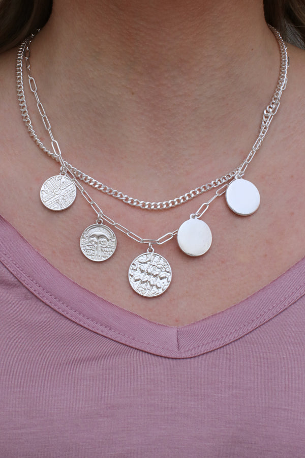 Silver Montecito Layered Coin Necklace + MORE COLORS - Madison + Mallory