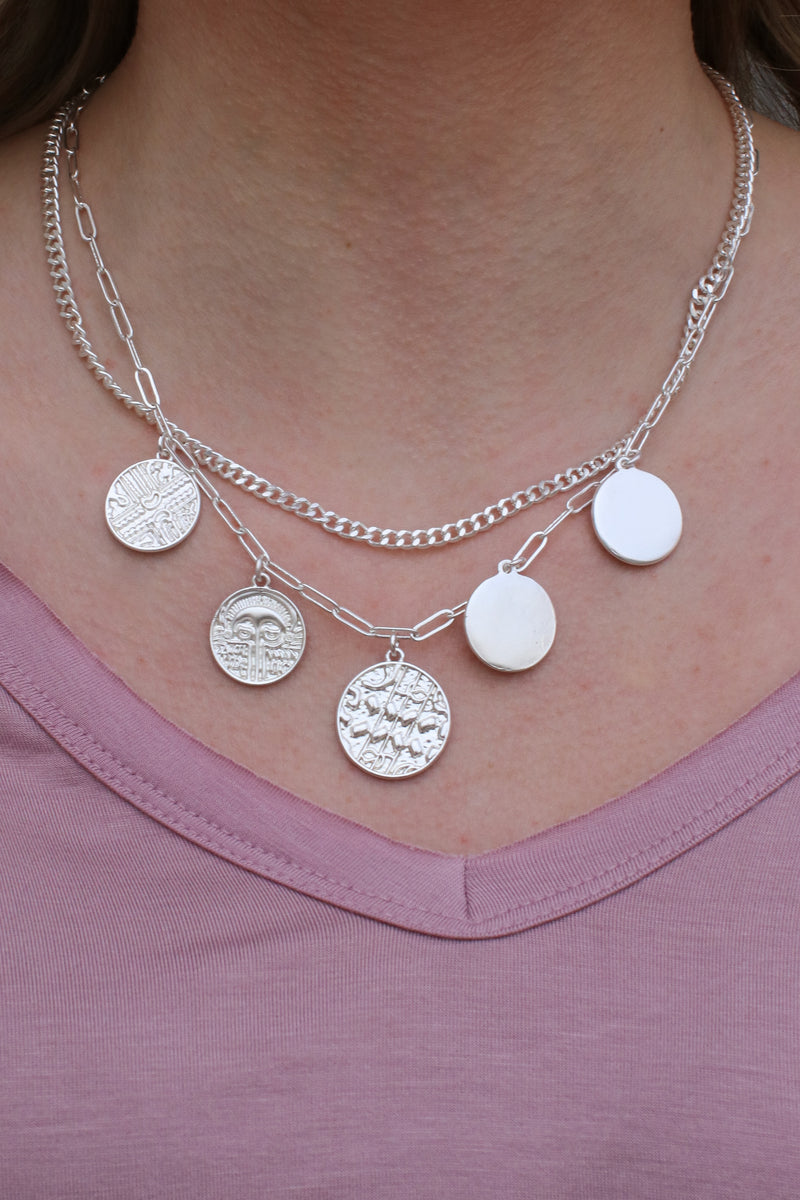 Silver Montecito Layered Coin Necklace + MORE COLORS - Madison and Mallory